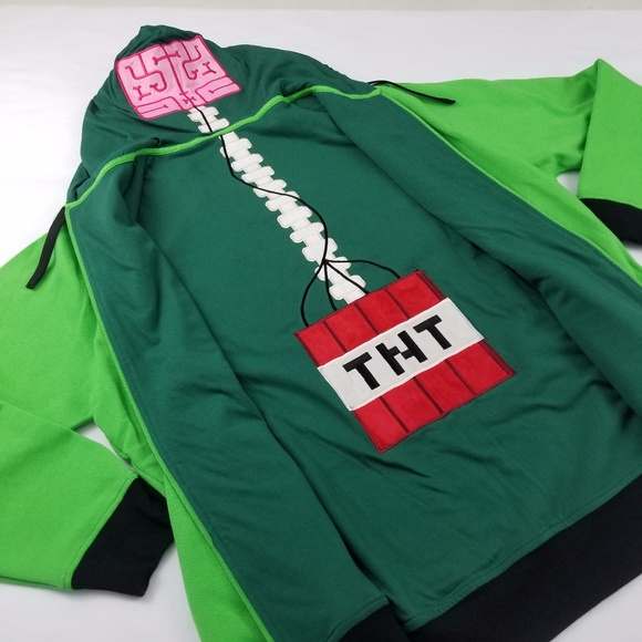 Jinx Jackets Coats Hoodie Minecraft Creeper Anatomy 3xl Green Nwot