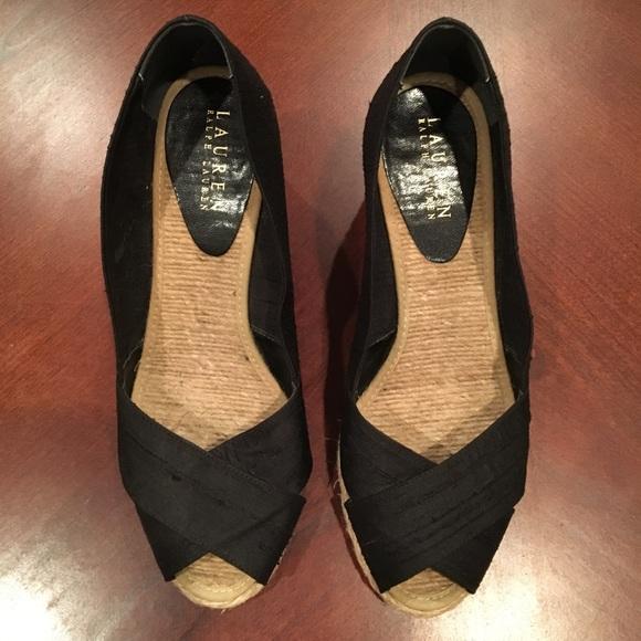 d1ca928710d9 Lauren Ralph Lauren Shoes - Ralph Lauren Black Cecilia Wedge Espadrilles