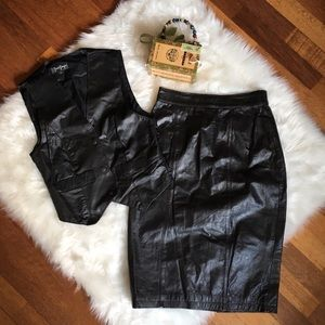 Black Leather Vest and Skirt Set