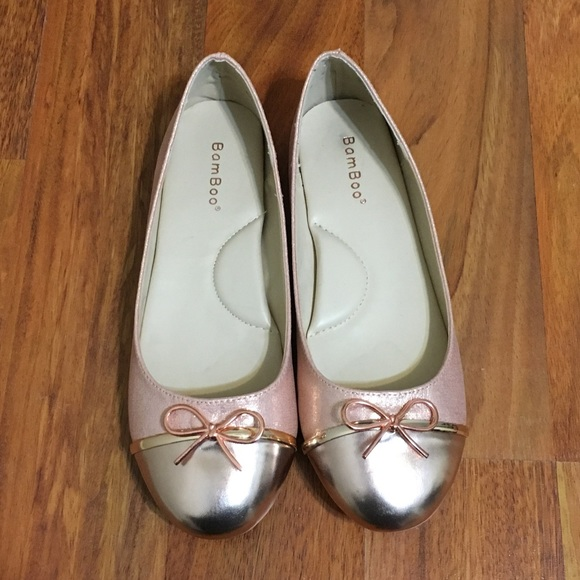 96640f4f4b62 BAMBOO Shoes - Bamboo Rose Gold Two-Tone Ballet Flats