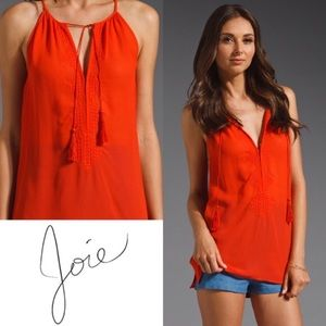 Joie Eniko C Embroidered Tassel 100% Silk Tank Top