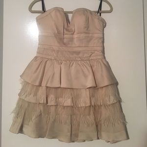 Champagne strapless feather BEBE dress