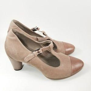 Ecco Sculptured 75 T-strap heels Wood Rose sz 38