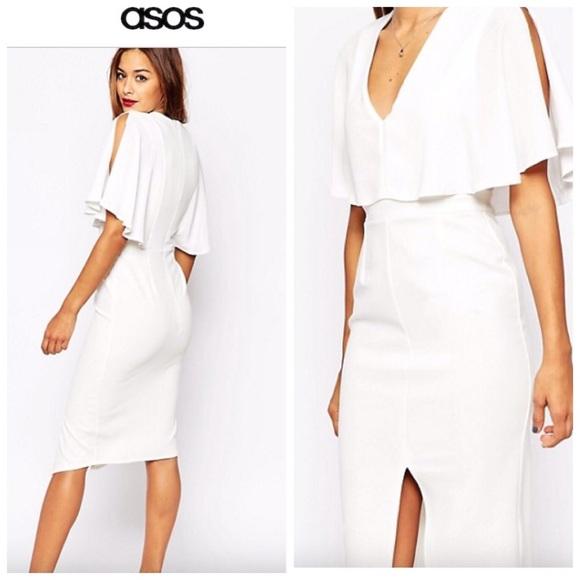 Asos white cape dress sale