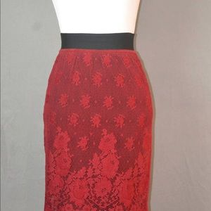 Haute couture Gautier Red Lace Skirt