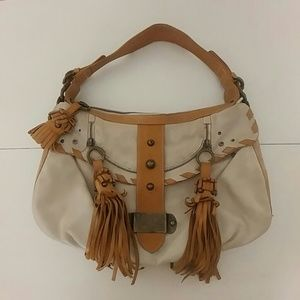 Mania boho all leather Italian shoulder bag purse