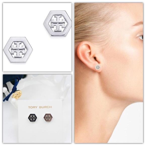 12a553dd7 Tory Burch Jewelry | Hex Logo Stud Earrings Silver | Poshmark