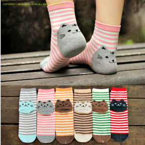 3D Fun striped socks with cats design