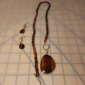 Handcrafted Tiger's Eye Necklace Set