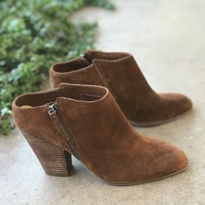 New Dolce Vita Chestnut Brown Suede Booties Mules