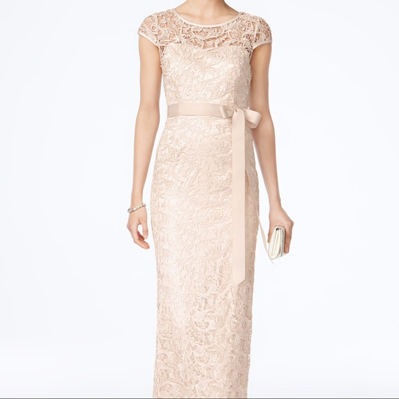 Adrianna Papell Dresses | Capsleeve Illusion Lace Gown | Poshmark
