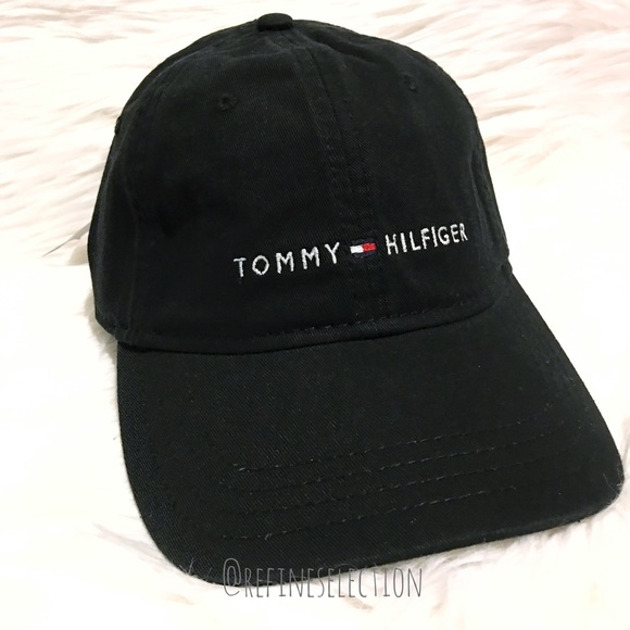 191edfcb6c5 Tommy Hilfiger Embroidered Black Dad Strapback Hat
