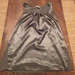 Dark Grey Silk Sleeveless Top
