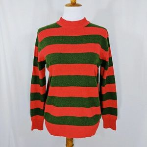 Hot Topic Red and Green Striped Sweater