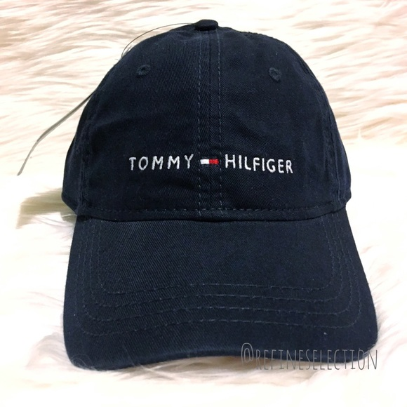 ece335a2701 Tommy Hilfiger Embroidered Navy Blue Dad Hat Cap