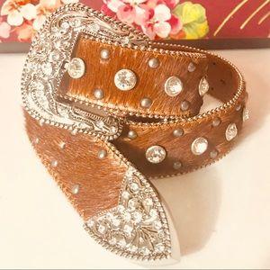 Accessories - Brown rhinestone belt