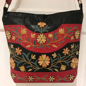 Handbags - Hand Embroidered Leather Shoulder Bag from Kashmir