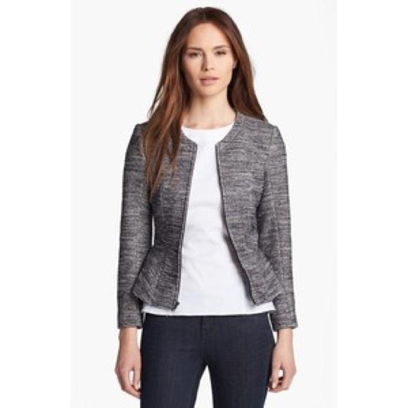 4e7e90b8d607ee Theory Black & White Speckled Tweed Peplum Jacket.  M_5a06be5f522b45bf2b0b9774