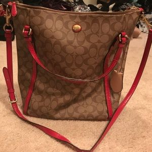 Large coach tote red and tan