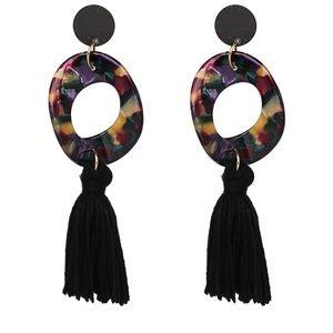 Big hoop and tassel earrings