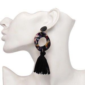 Big hoop tassel earrings