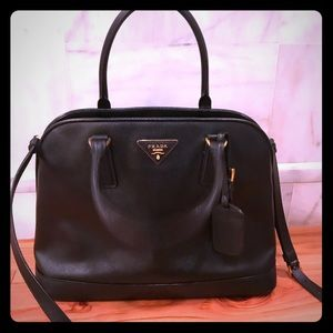PRADA Saffiano Promenade Open Top Black Handbag