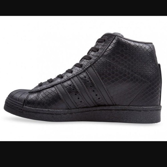adidas Shoes - Adidas Superstar Up Black Snakeskin Wedge Sneaker f8d5fc1809e6