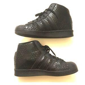 Adidas Superstar Up Black Snakeskin Wedge Sneaker