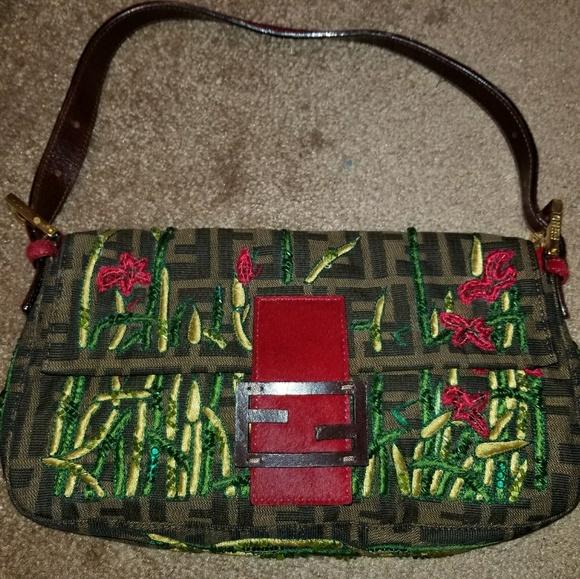 Fendi Bags   Floral Monogram Baguette   Poshmark 9c542f2877