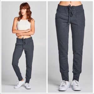 Pants - BUY NOW!Charcoal Gray French Terry Lace Up Joggers