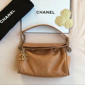 CHANEL Lambskin Coco Mark Matelasse  Chain Bag