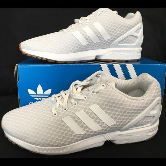 timeless design c3e9c 668a3 Adidas ZX Flux - White with Gum Bottom