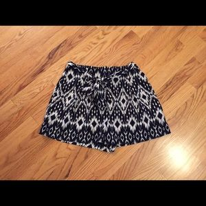 Boho high waist tie shorts