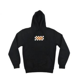 Trap Checkered Hoodie - Black w/ Orange