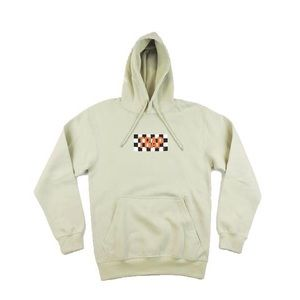 Trap Checkered Hoodie - Beige w/ Orange
