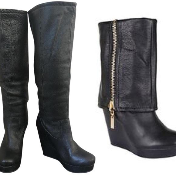 9d6a4b79159 Steven black leather tall fold gold zip wedge boot