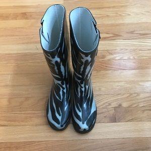 Zebra Print Rain Boots, Size 8