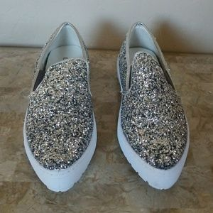 Silver Glitter Slip on Shoes NWT
