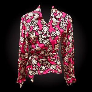 Diane Von Furstenberg 100% Silk Faux Wrap Blouse