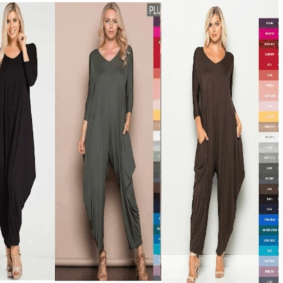 d6ce481853e NEW WOMENS HAREM LONG SLEEVES JUMPSUIT BROWN