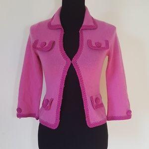 Nanette Lepore Blush Pink Cashmere Cardigan XS