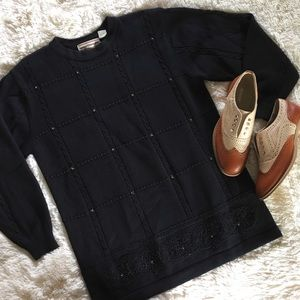 westbound • vintage beaded cableknit black sweater