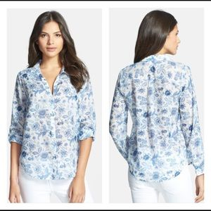 Joie button down silk blend Katrina blue & white