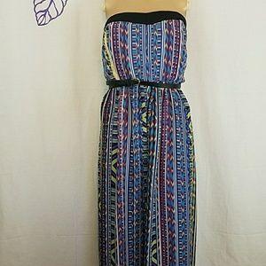 Torrid long strapless belted dress.          0193