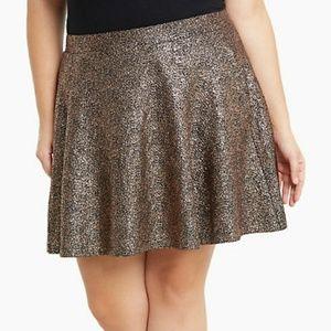 NWOT Torrid Metallic Foil Skater Skirt