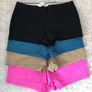 [J. Crew] NWT Lot of 4 chino shorts size 14