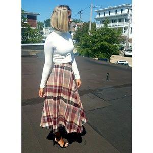 Vintage 70s Plaid Wool Skirt