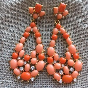Kenneth Jay Lane Coral Cabochon Cluster Earrings