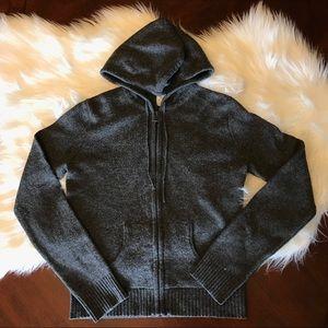 J Crew Factory Wool Zip Cardigan Sweater Hood VTG