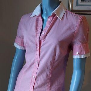 Zara White Collared Pink Blouse